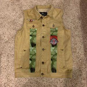 Men's camp/ tan jean vest
